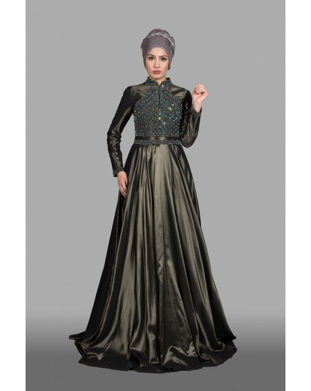 Beaded hijab evening dress