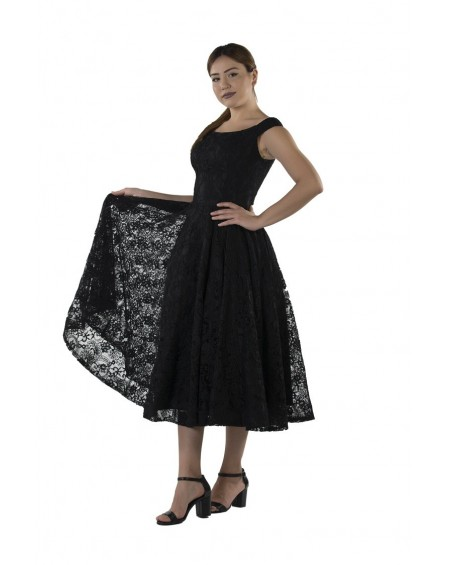 Mid Length Black Lace Dress